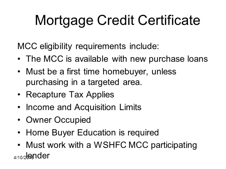 Mortgage Credit Certificate