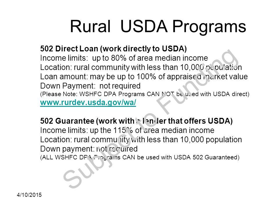 Subject to Funding Rural USDA Programs