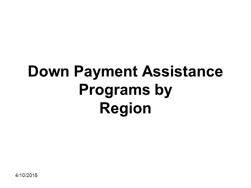 Down Payment Assistance Programs by Region