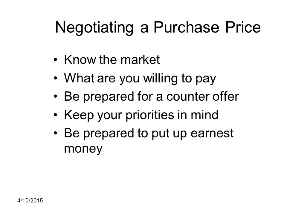 Negotiating a Purchase Price