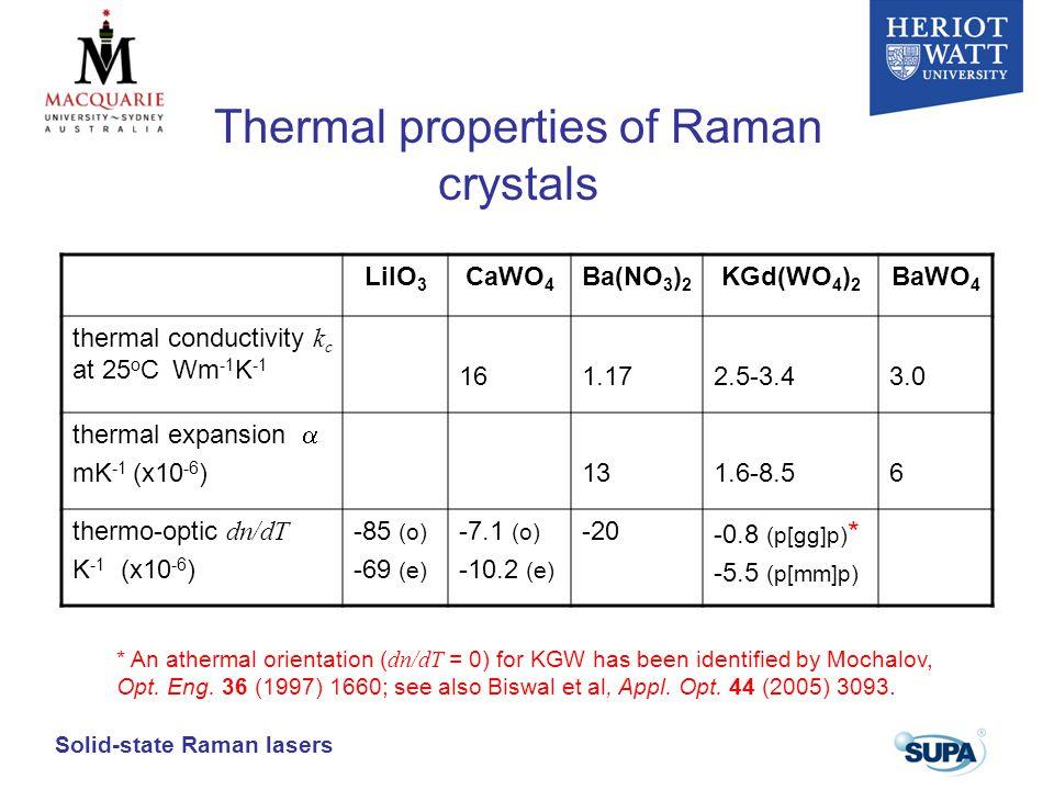 Thermal properties of Raman crystals