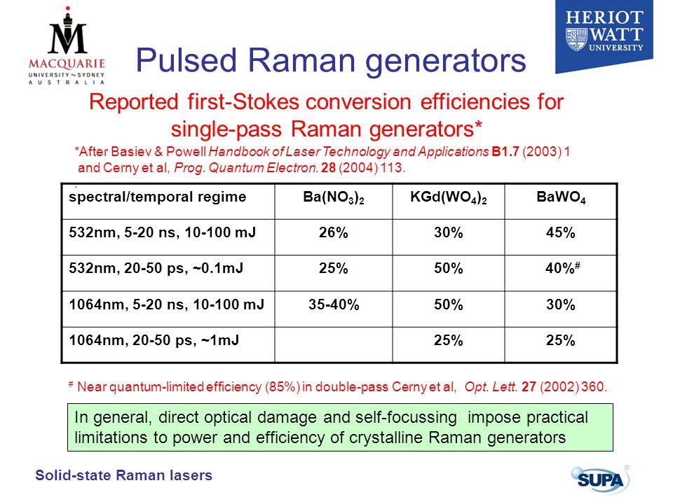 Pulsed Raman generators