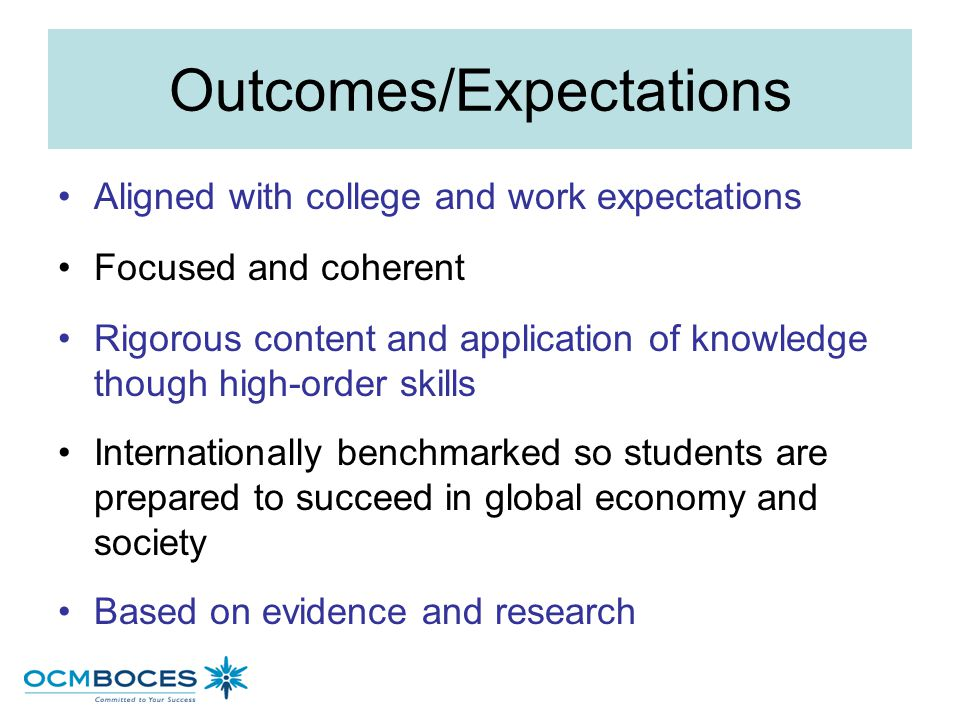 Outcomes/Expectations