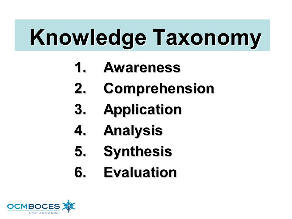 Knowledge Taxonomy 1. Awareness 2. Comprehension 3. Application