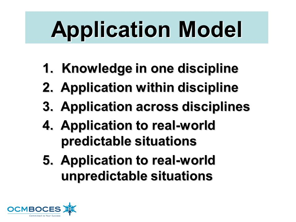Application Model 1. Knowledge in one discipline