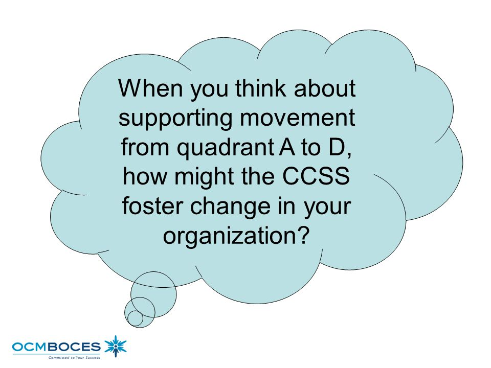 When you think about supporting movement from quadrant A to D, how might the CCSS foster change in your organization