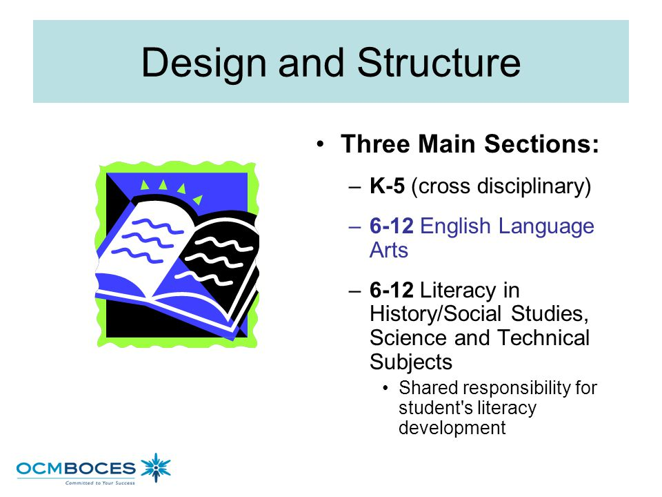 Design and Structure Three Main Sections: K-5 (cross disciplinary)