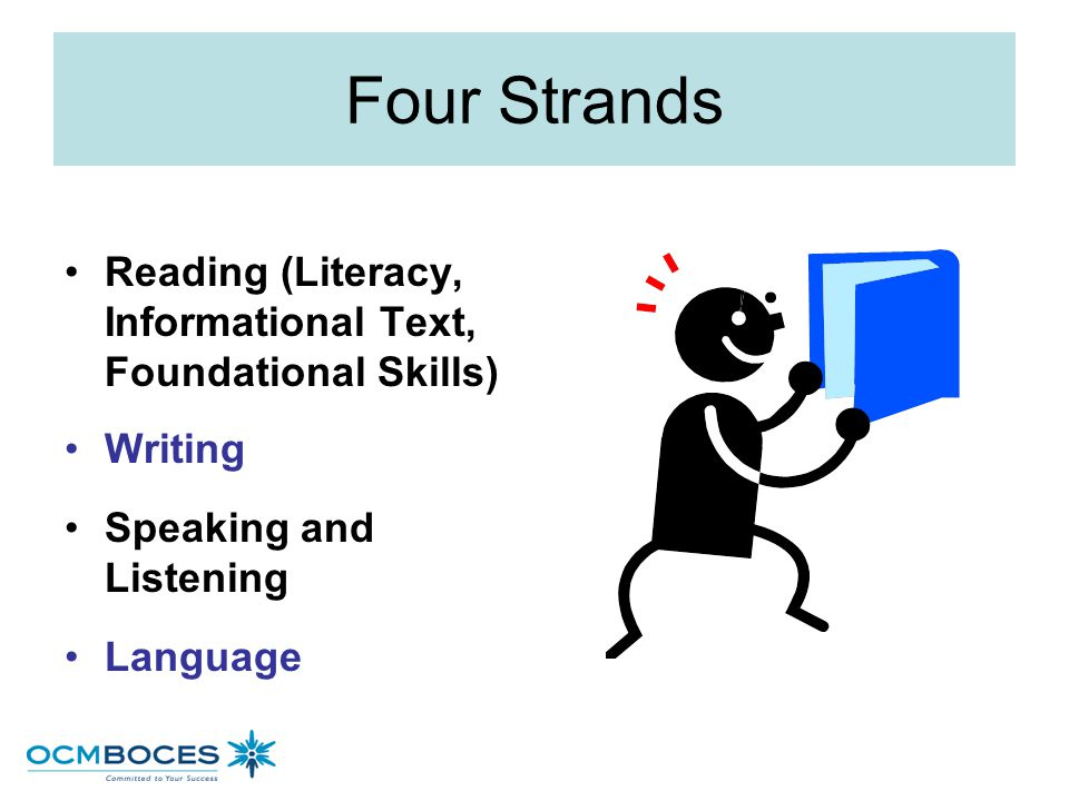 Four Strands Reading (Literacy, Informational Text, Foundational Skills) Writing. Speaking and Listening.
