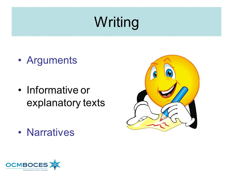 Writing Arguments Informative or explanatory texts Narratives