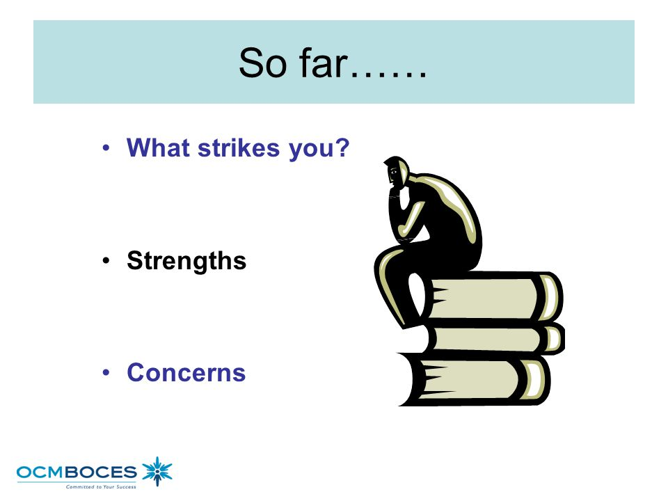 So far…… What strikes you Strengths Concerns