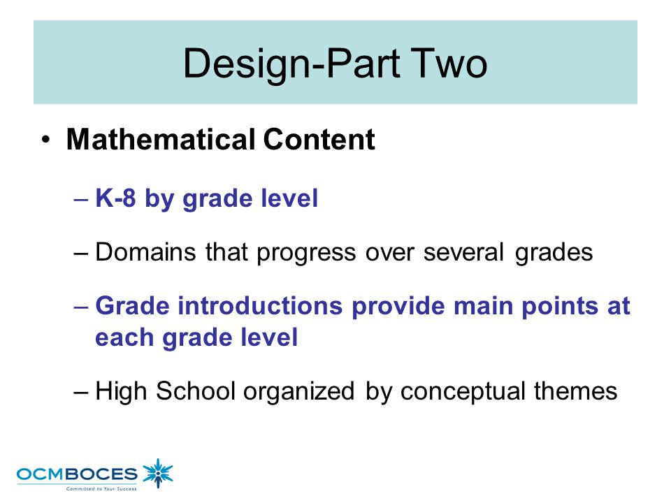 Design-Part Two Mathematical Content K-8 by grade level
