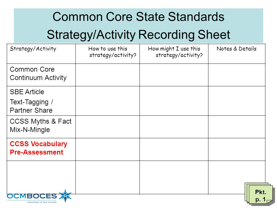 Common Core State Standards Strategy/Activity Recording Sheet