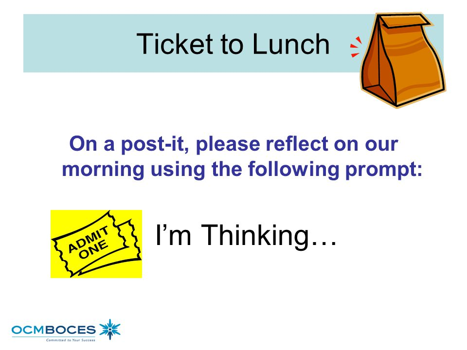 Ticket to Lunch On a post-it, please reflect on our morning using the following prompt: I'm Thinking…