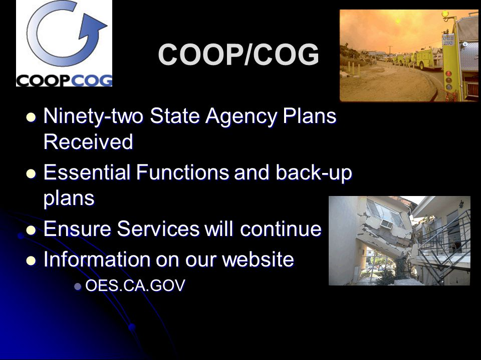 COOP/COG Ninety-two State Agency Plans Received