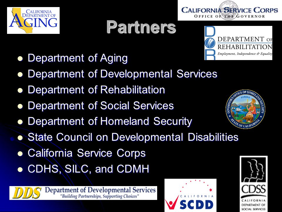 Partners Department of Aging Department of Developmental Services
