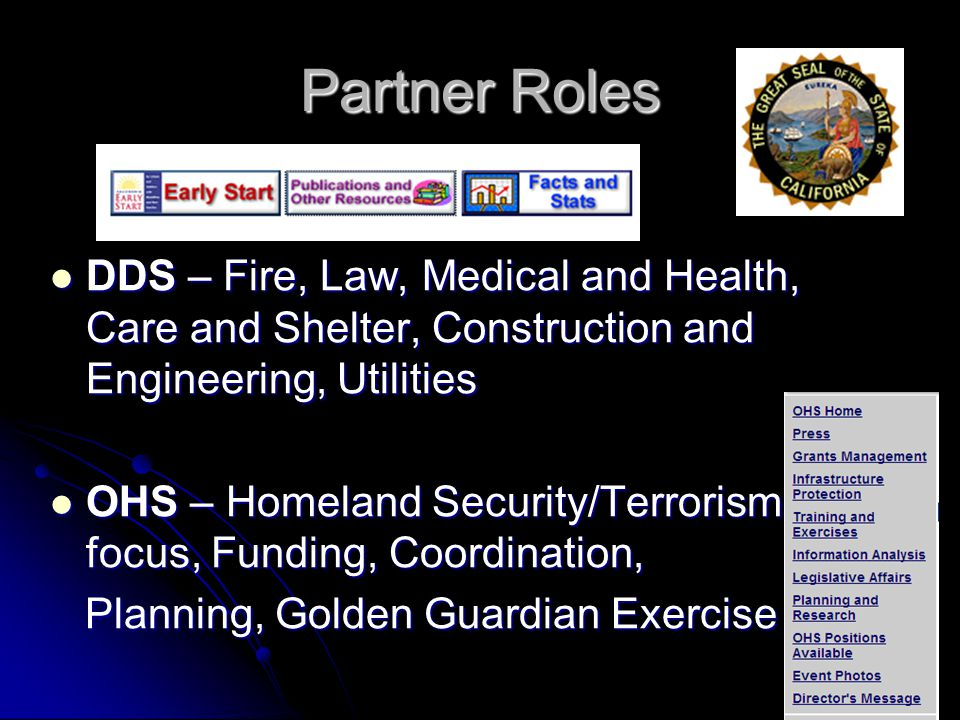 Partner Roles DDS – Fire, Law, Medical and Health, Care and Shelter, Construction and Engineering, Utilities.
