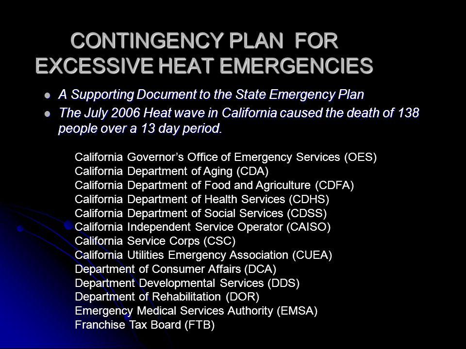CONTINGENCY PLAN FOR EXCESSIVE HEAT EMERGENCIES