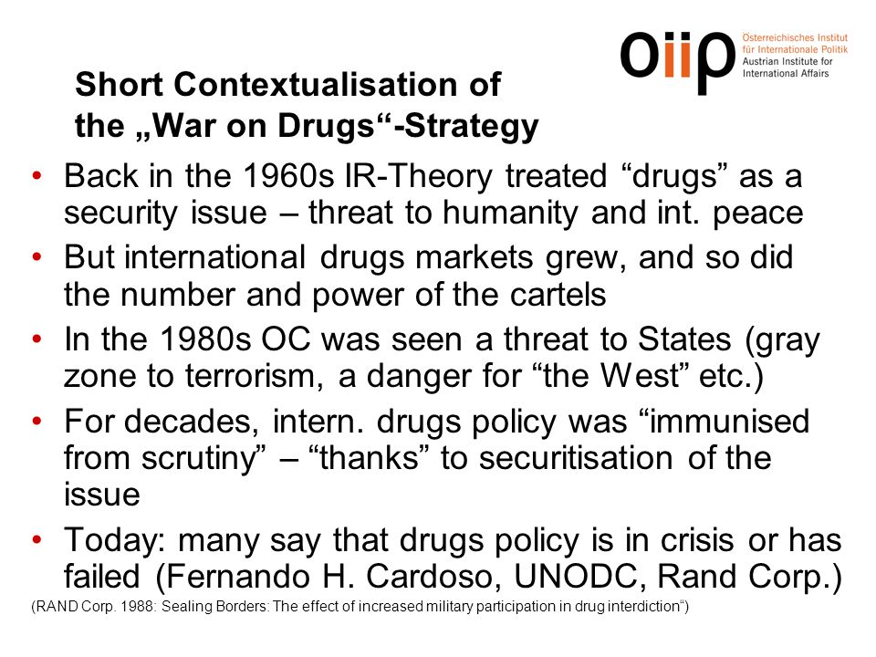 "Short Contextualisation of the ""War on Drugs -Strategy"