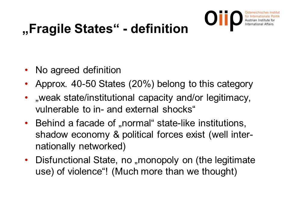 """Fragile States - definition"