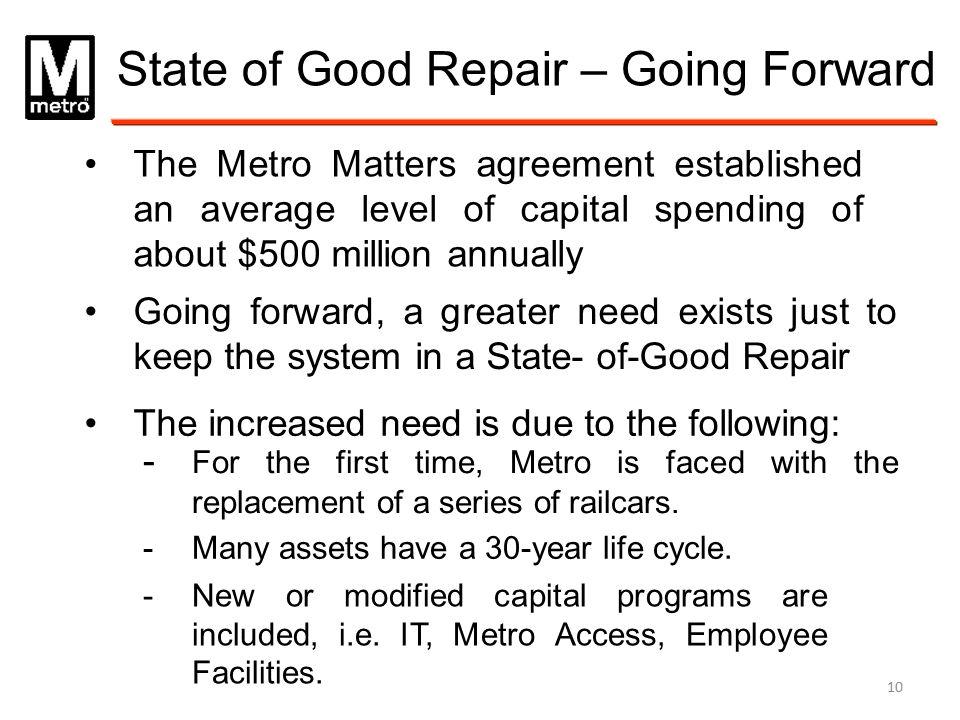 State of Good Repair – Going Forward