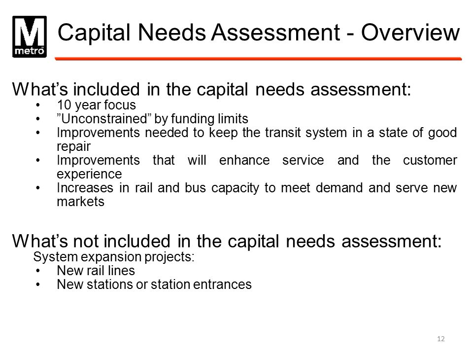 Capital Needs Assessment - Overview
