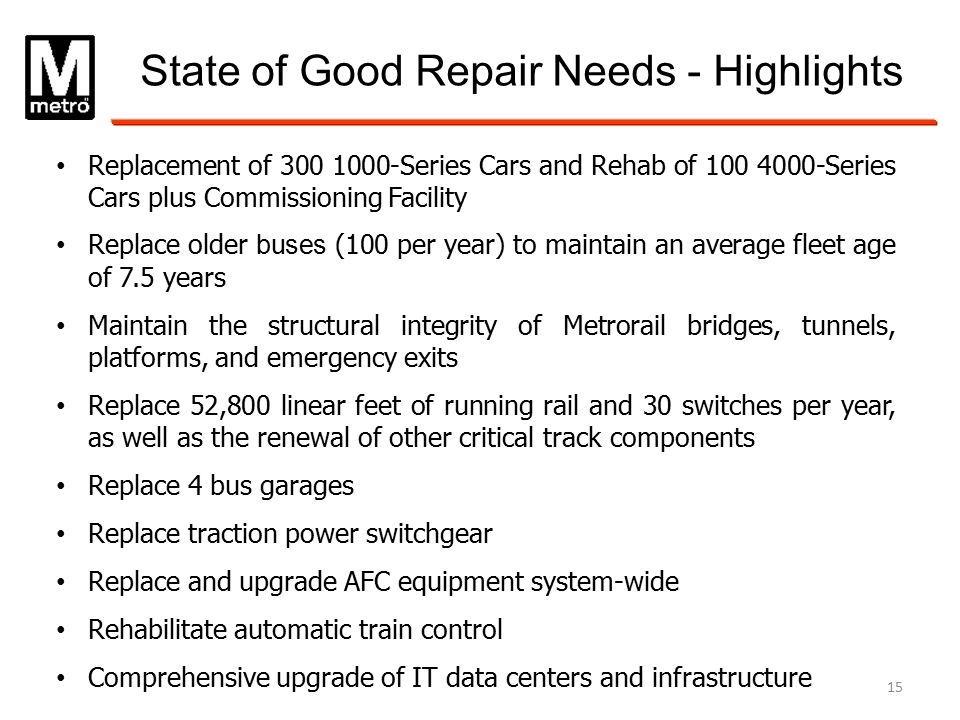 State of Good Repair Needs - Highlights