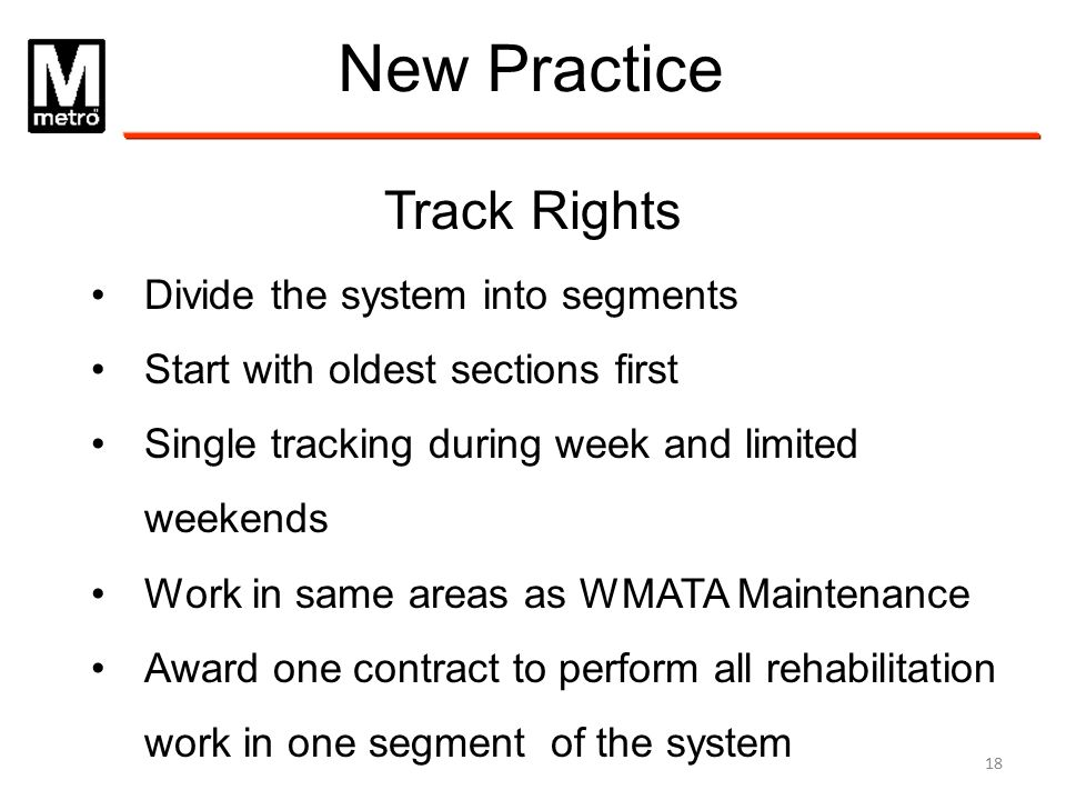 New Practice Track Rights Divide the system into segments