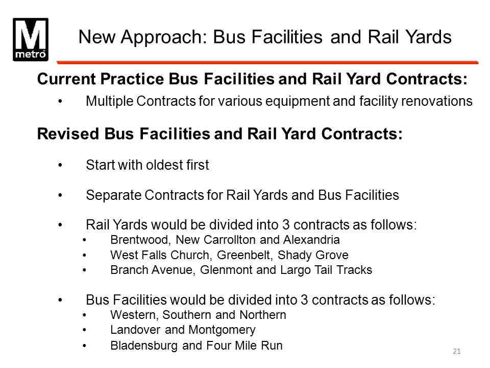 New Approach: Bus Facilities and Rail Yards