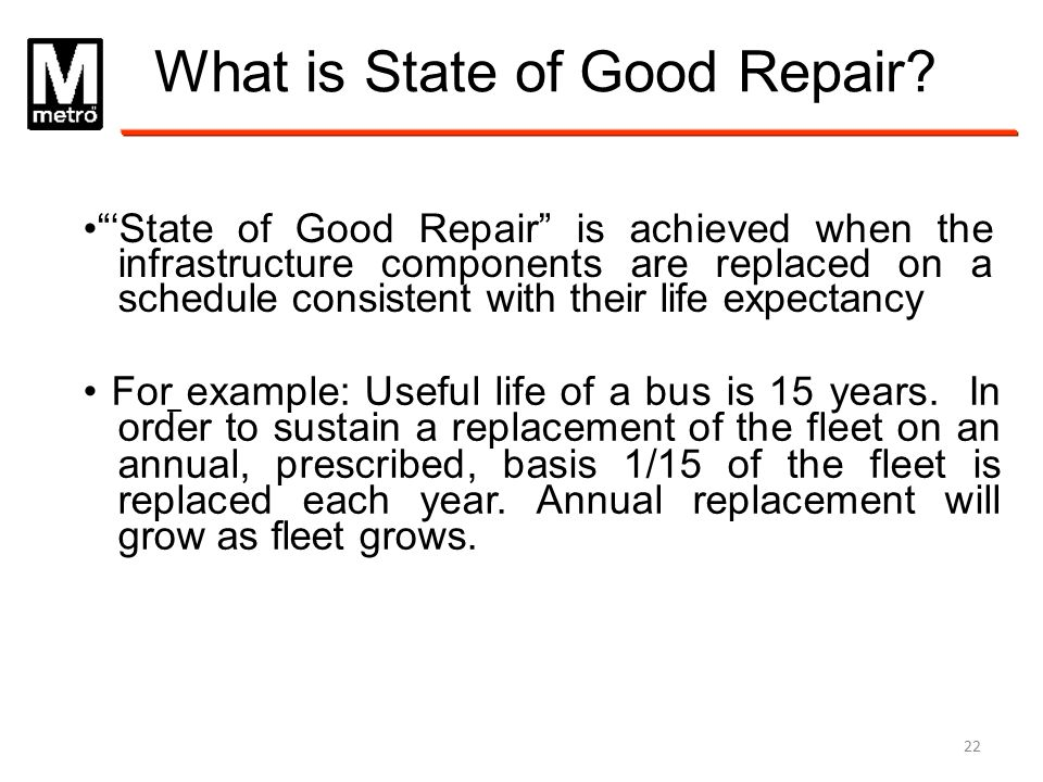 What is State of Good Repair