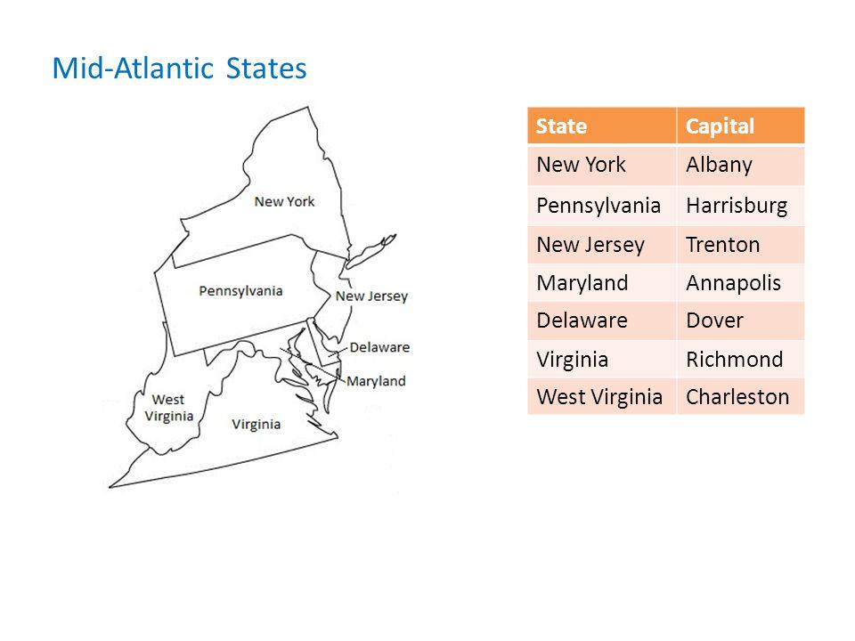 Mid-Atlantic States State Capital New York Albany Pennsylvania