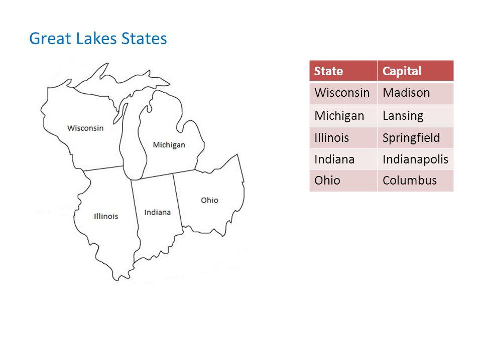 Great Lakes States State Capital Wisconsin Madison Michigan Lansing