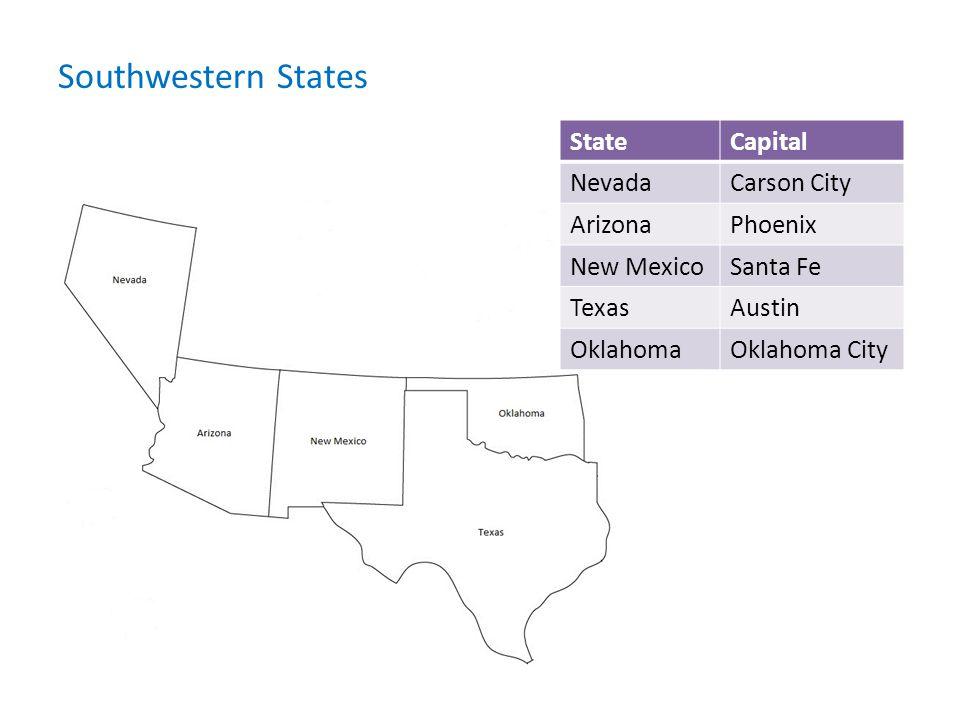 Southwestern States State Capital Nevada Carson City Arizona Phoenix