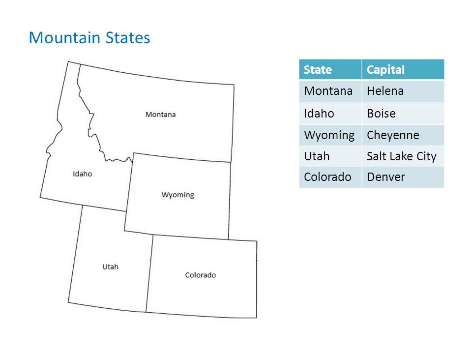 Mountain States State Capital Montana Helena Idaho Boise Wyoming