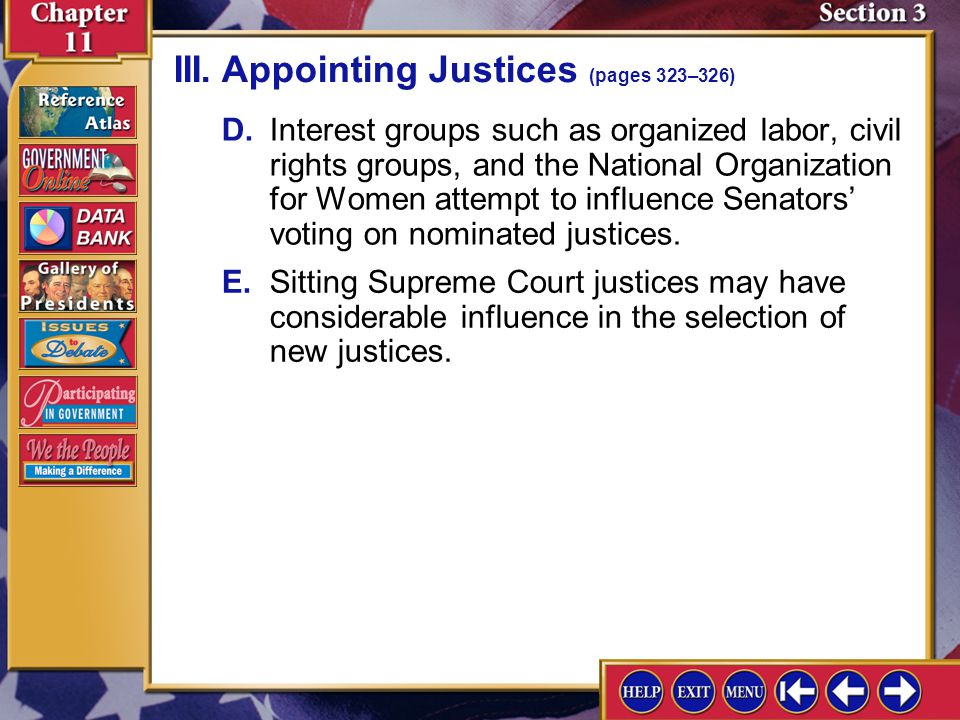 III. Appointing Justices (pages 323–326)