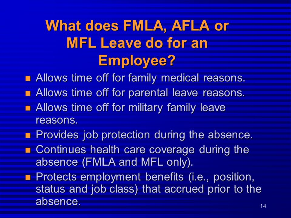What does FMLA, AFLA or MFL Leave do for an Employee