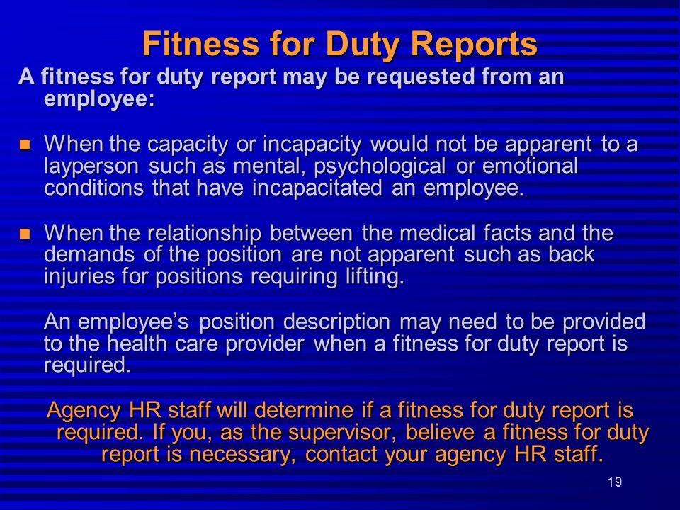 Fitness for Duty Reports