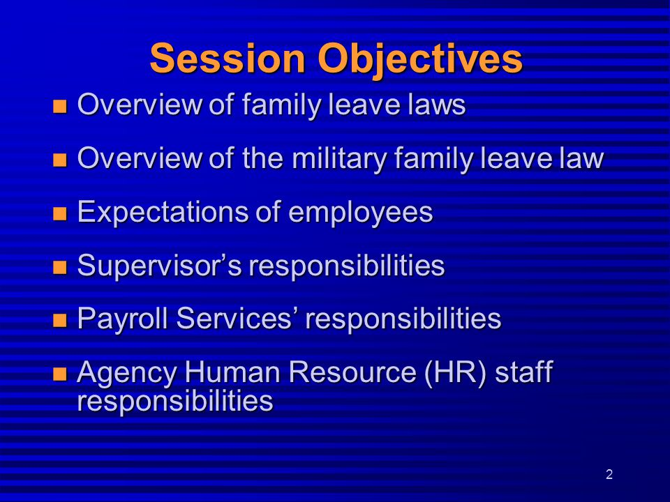 Session Objectives Overview of family leave laws