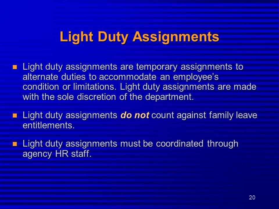 Light Duty Assignments