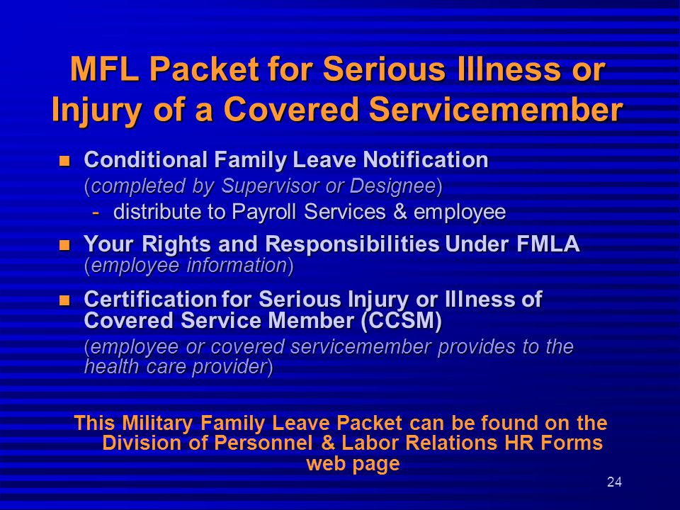 MFL Packet for Serious Illness or Injury of a Covered Servicemember