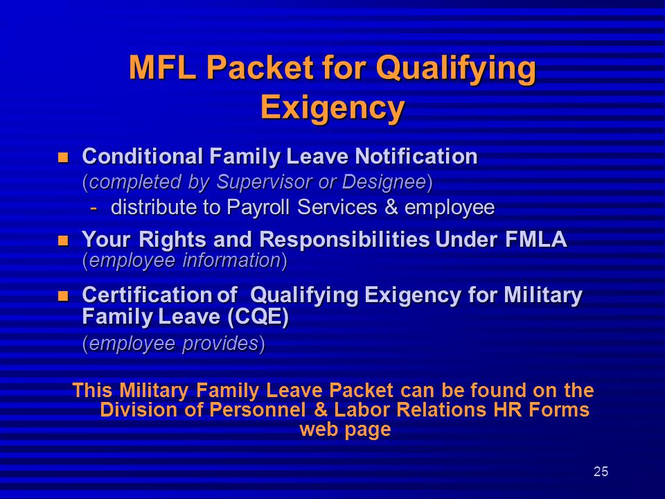 MFL Packet for Qualifying Exigency