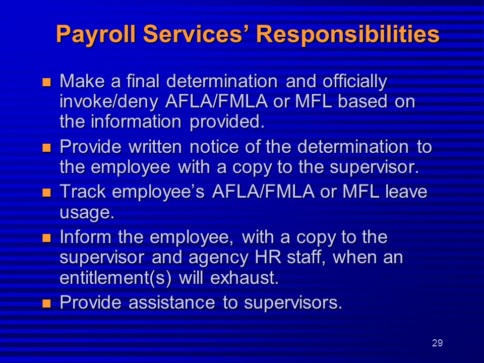 Payroll Services' Responsibilities