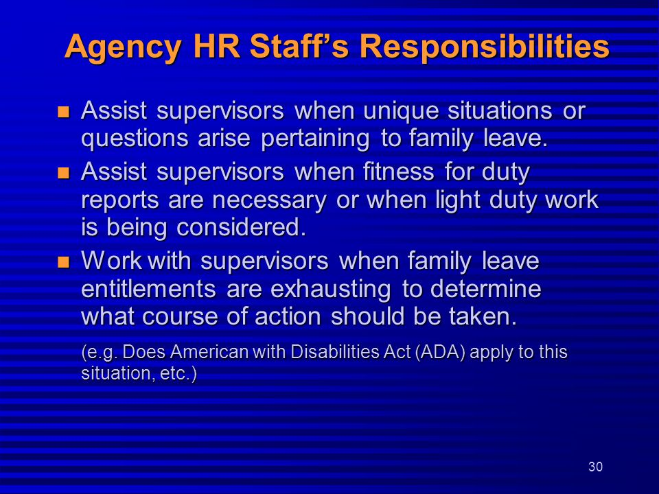 Agency HR Staff's Responsibilities