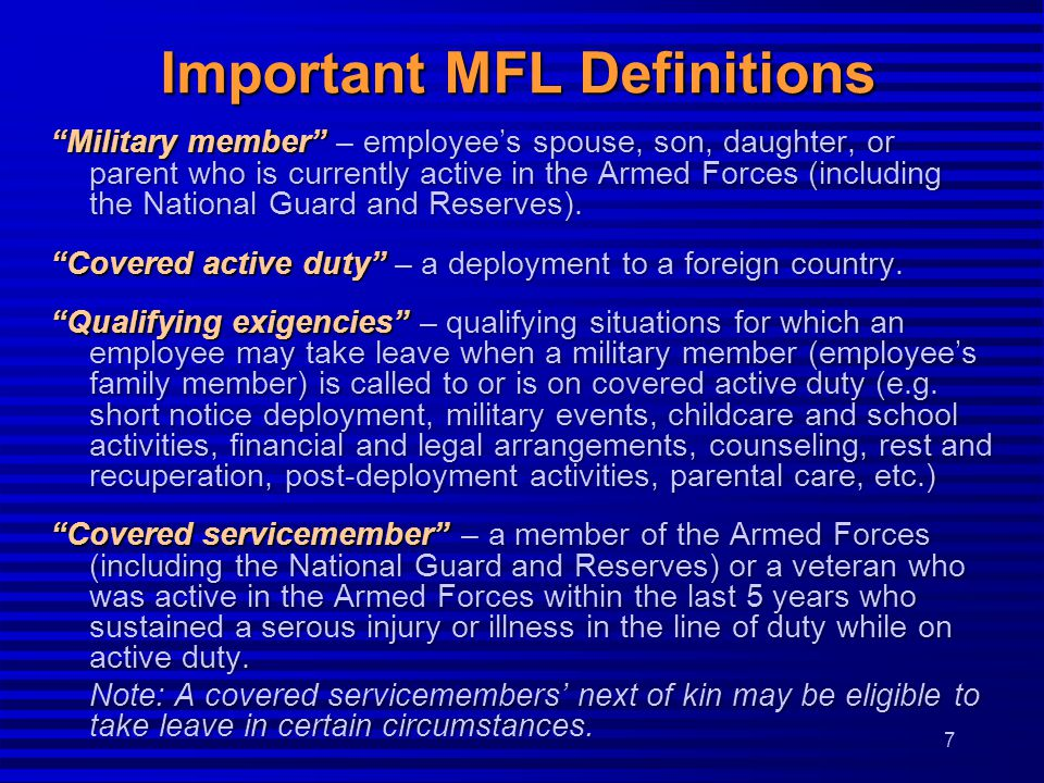Important MFL Definitions