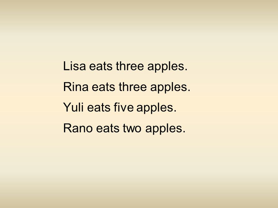 Lisa eats three apples. Rina eats three apples. Yuli eats five apples. Rano eats two apples.