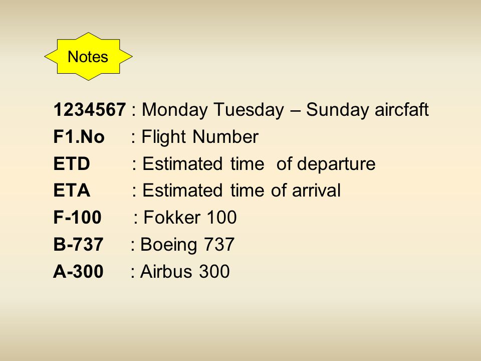 1234567 : Monday Tuesday – Sunday aircfaft F1.No : Flight Number