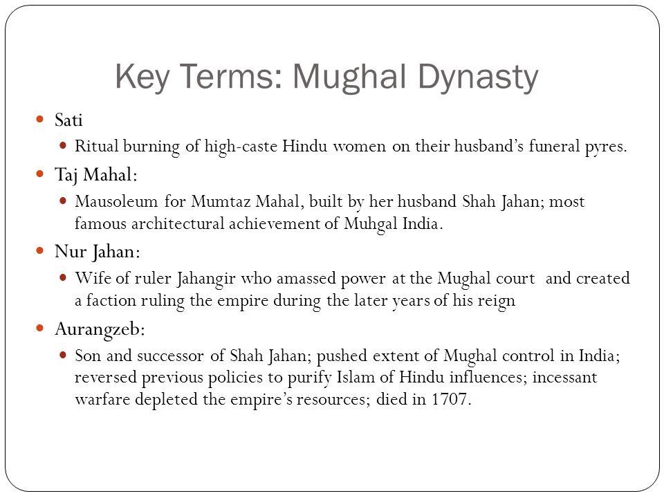 Key Terms: Mughal Dynasty