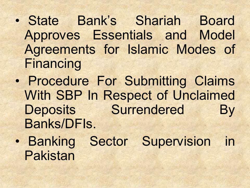 State Bank's Shariah Board Approves Essentials and Model Agreements for Islamic Modes of Financing