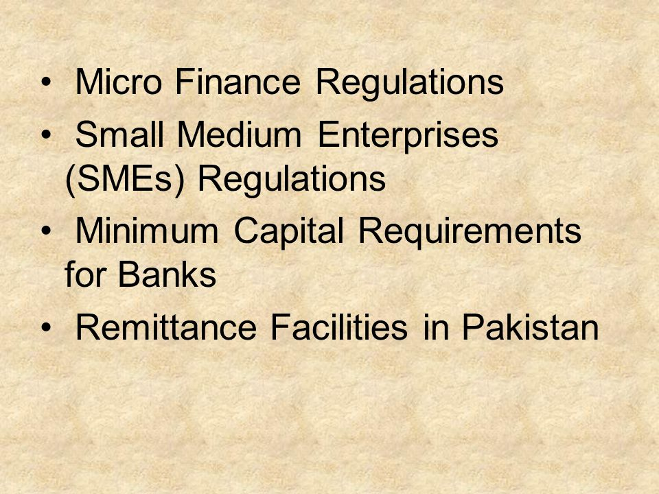 Micro Finance Regulations