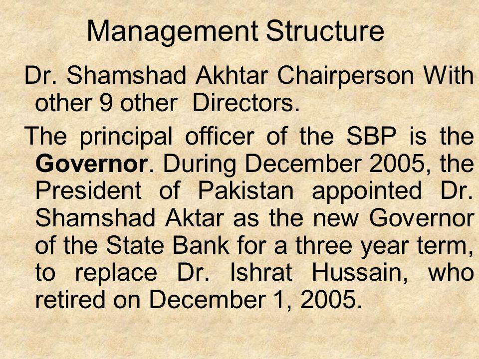 Management Structure Dr. Shamshad Akhtar Chairperson With other 9 other Directors.