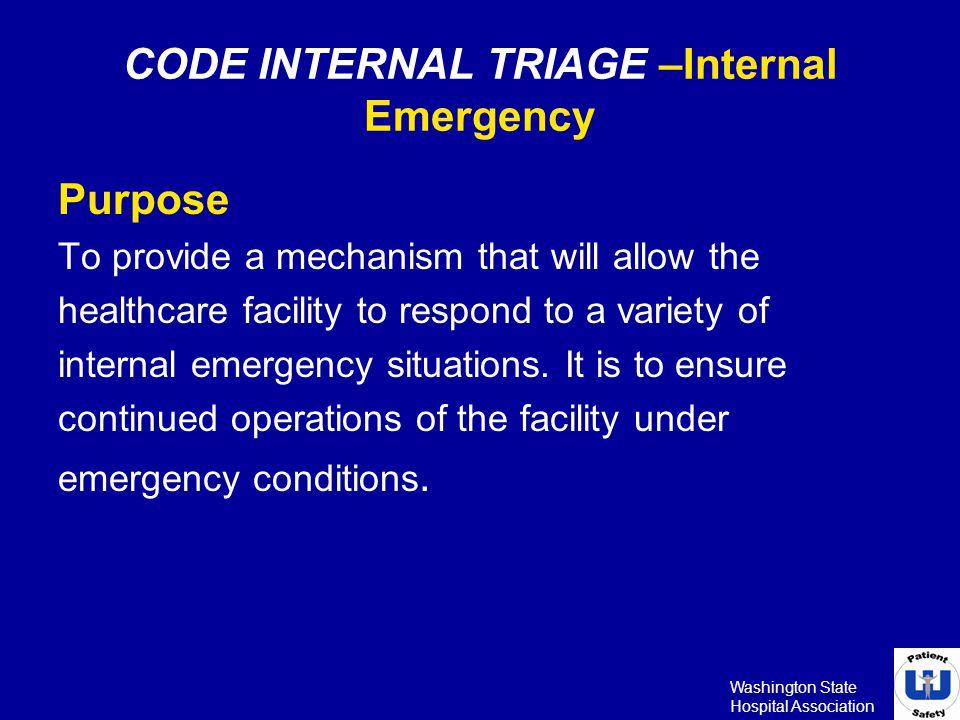 CODE INTERNAL TRIAGE –Internal Emergency